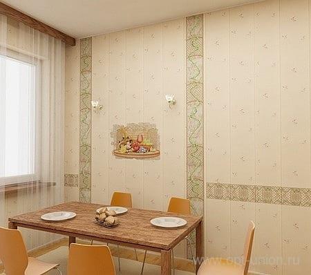 Кухня с отделкой стеновыми панелями
